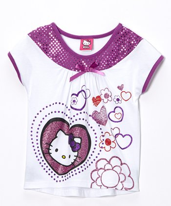 Purple & White Sequin Hearts Hello Kitty Top - Girls