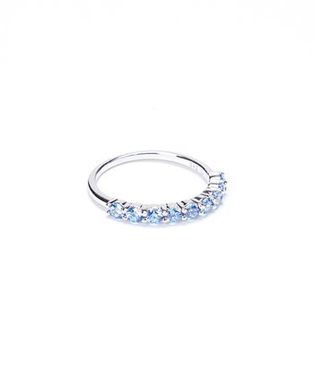 Fancy Blue Cubic Zirconia & Sterling Silver Ring