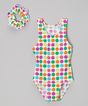 Blue & Pink Polka Dot Wide-Strap One-Piece & Hair Tie - Girls