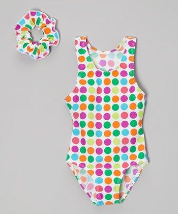 Raya Sun Pink & Orange Polka Dot One-Piece & Scrunchie - Toddler & Girls