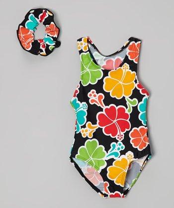Raya Sun Black & Orange Floral One-Piece & Scrunchie - Toddler