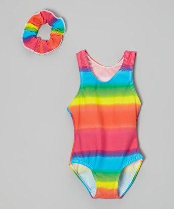 Raya Sun Yellow & Green Tie-Dye One-Piece & Scrunchie - Toddler