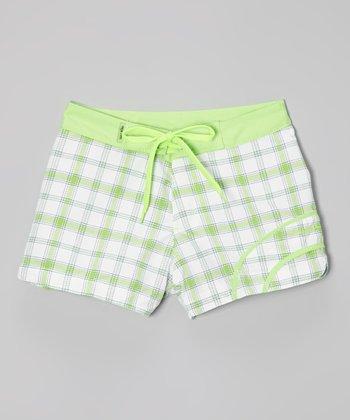 Raya Sun Lime Plaid Swim Shorts - Girls