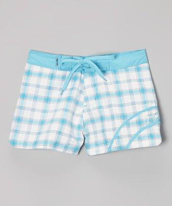 Raya Sun Turquoise Plaid Swim Shorts - Girls