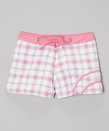 Raya Sun Pink Plaid Swim Shorts - Girls