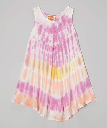 Fuchsia & Yellow Tie-Dye Dress - Toddler & Girls