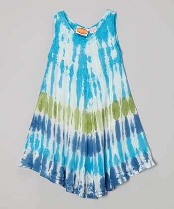 Blue & Green Tie-Dye Dress - Toddler & Girls