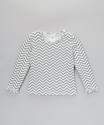 Gray & Cream Zigzag Ruffle Long-Sleeve Tee - Toddler & Girls
