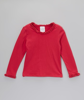 Red Ruffle Long-Sleeve Tee - Toddler & Girls