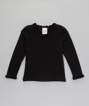 Black Ruffle Long-Sleeve Tee - Toddler & Girls