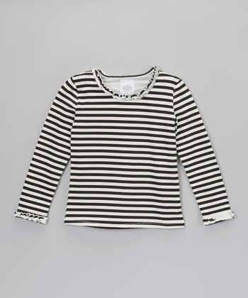 Black & Cream Stripe Ruffle Long-Sleeve Tee - Toddler & Girls