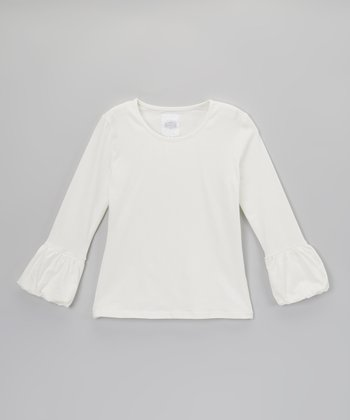 Cream Bubble Cuff Long-Sleeve Tee - Toddler & Girls