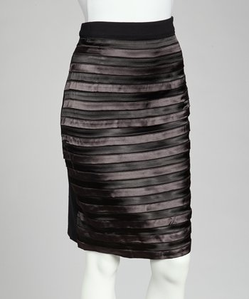 Black Satin Stripe Pencil Skirt