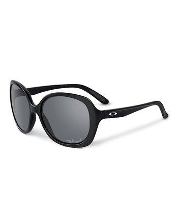 Polished Black & Gray Polarized Backhand Sunglasses - Women