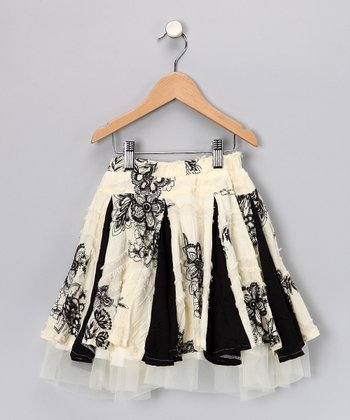 Black & Ivory Chic Vented Skirt - Toddler & Girls