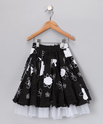 Black & White Vented Skirt - Girls