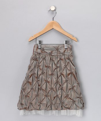 Blue & Brown Taffetta Skirt - Girls