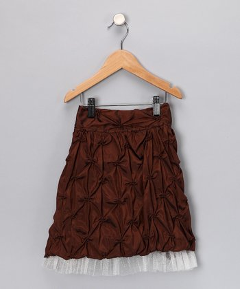 Brown Taffetta Skirt - Girls