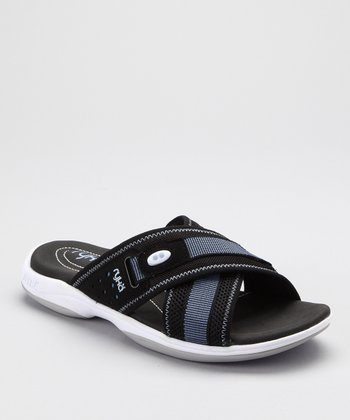 Black & Blue Cross-Strap Slide - Women