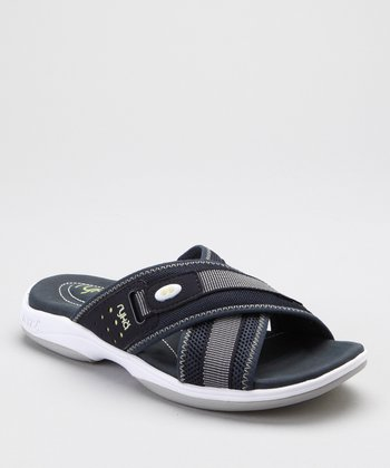 Blue & Gray Cross-Strap Slide - Women