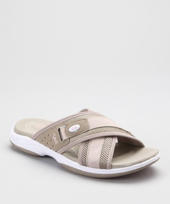 Beige Cross-Strap Slide