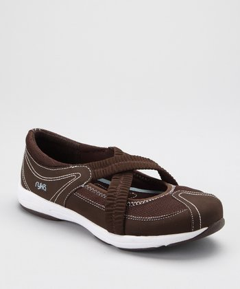 Brown Cross-Strap LO Slip-On Shoe - Women