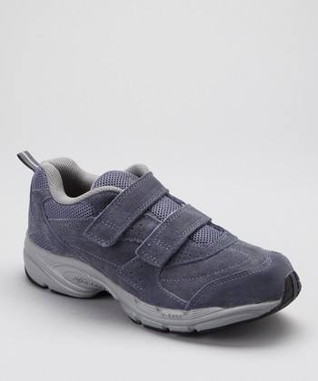 Gray Suede Rocker Double-Strap LO Walking Shoe - Women