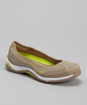 Gray & Green Mesh Flat - Women