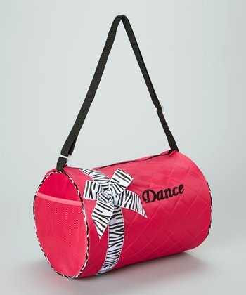 Hot Pink Zebra Bow 'Dance' Duffel Bag