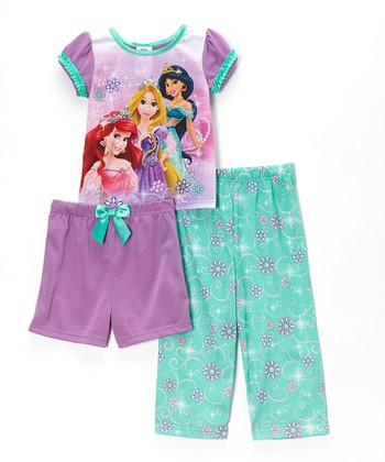 Purple Floral Princess Pajama Set - Toddler