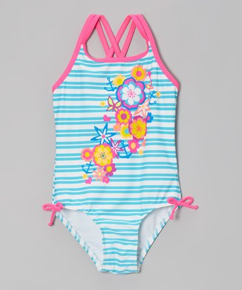 Blue Stripe Flower Girl One-Piece - Girls