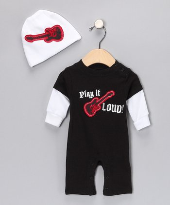 Black 'Play It Loud' Layered Romper & White Beanie