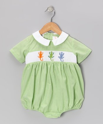 Light Green Lizard Smocked Bubble Bodysuit - Infant