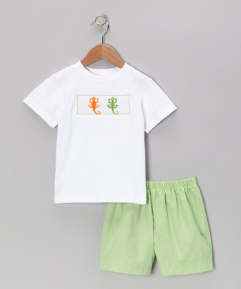 White Lizard Smocked Tee & Light Green Shorts - Infant