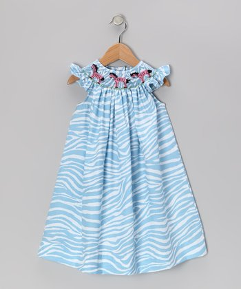 Light Blue Zebra Smocked Angel-Sleeve Dress - Infant & Toddler