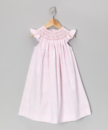 Pink Floral Smocked Angel-Sleeve Dress - Infant, Toddler & Girls
