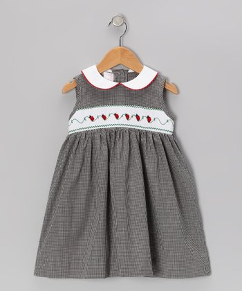 Black Gingham Ladybug Smocked Dress - Infant, Toddler & Girls