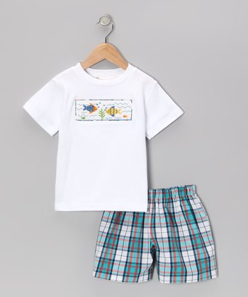 White Fish Smocked Tee & Blue Plaid Shorts - Infant