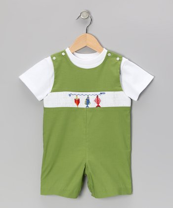 White Tee & Green Fish John Johns - Toddler