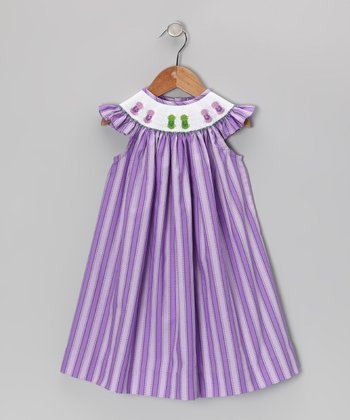 Purple Flip-Flop Angel-Sleeve Dress - Infant, Toddler & Girls