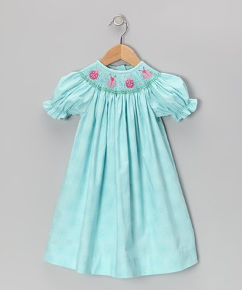 Light Blue Ladybug Bishop Dress - Infant & Toddler