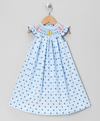 Blue Butterfly Angel-Sleeve Dress - Infant & Toddler