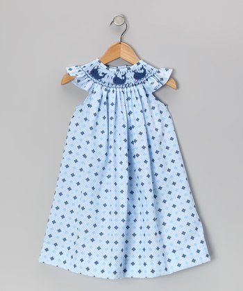 Blue Diamond Whale Smocked Angel-Sleeve Dress - Infant & Toddler