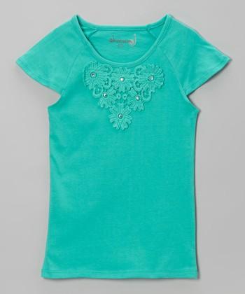 Dreamstar Mint Daisy Cap-Sleeve Tee - Toddler & Girls