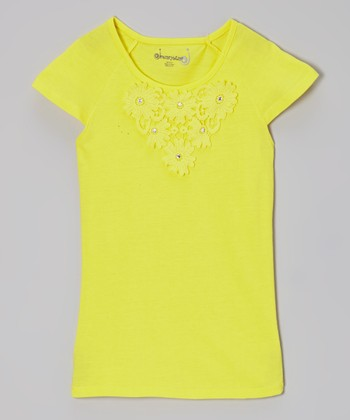 Lemon Daisy Cap-Sleeve Tee - Toddler & Girls