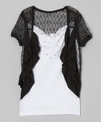 Black & White Rhinestone Layered Top - Girls