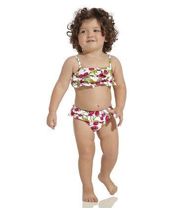Red & Green Rio Bandeau Bikini - Infant