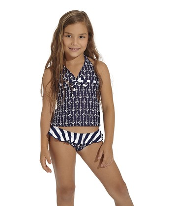Navy Ania Halter Tankini - Toddler & Girls