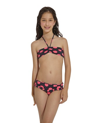 Pink & Black Chicaboom Bandeau Bikini - Toddler & Girls
