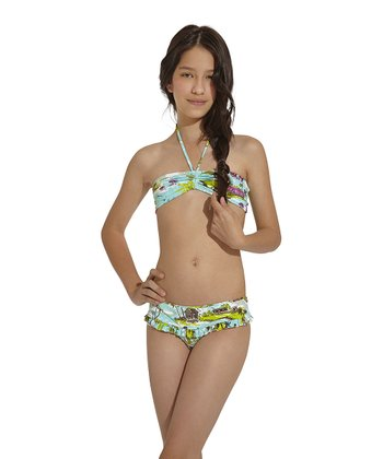 Aqua & Green Goa Bandeau Bikini - Toddler & Girls